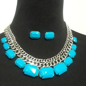 Jewelry - 50% OFF CUTE Light Blue Necklace and Earring set